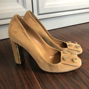 Gucci Shoes - Gucci Audrey tan chunky heel studded suede shoes